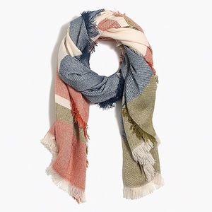 J Crew Raw edge colorblock scarf